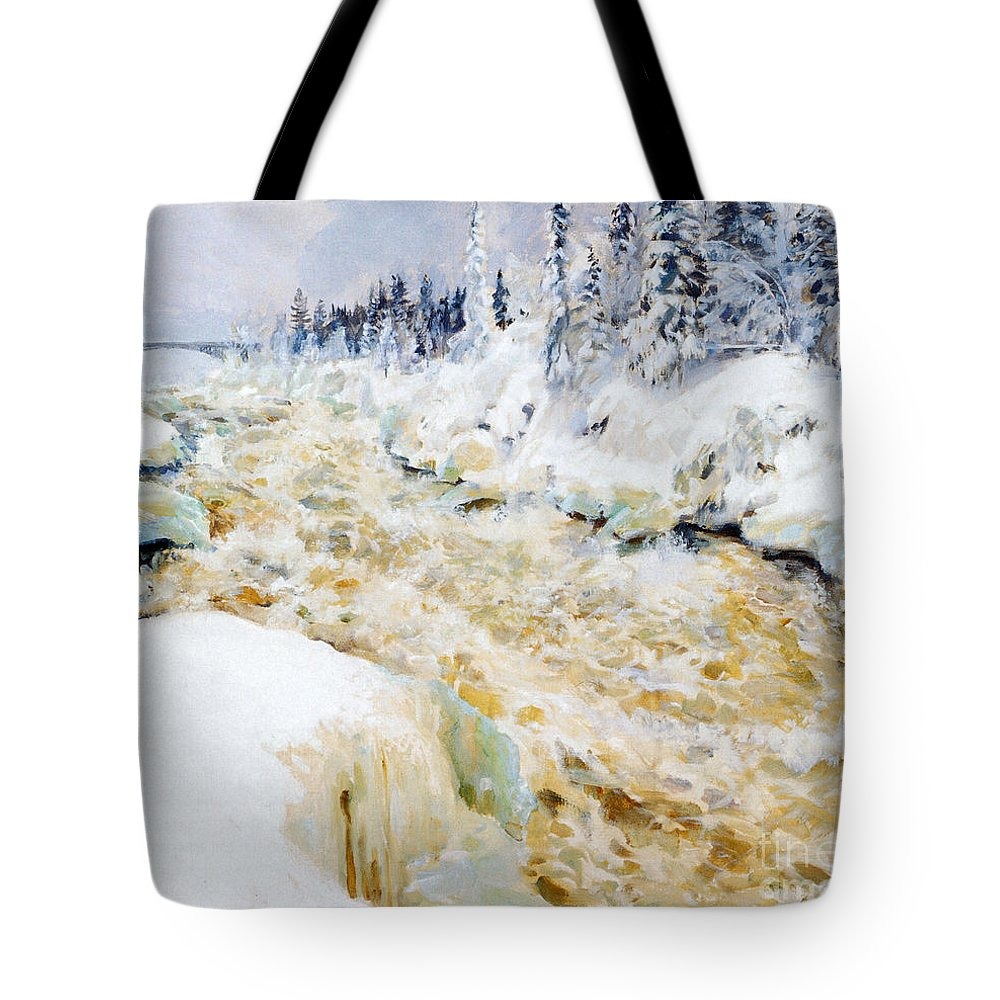 Akseli Gallen-kallela Tote Bag featuring the painting Imatra In Winter by Celestial Images