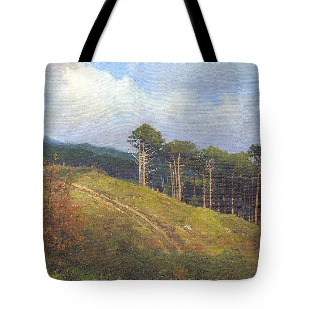 Tote Bag featuring the painting In The Crimean Mountains  by Denis Chernov