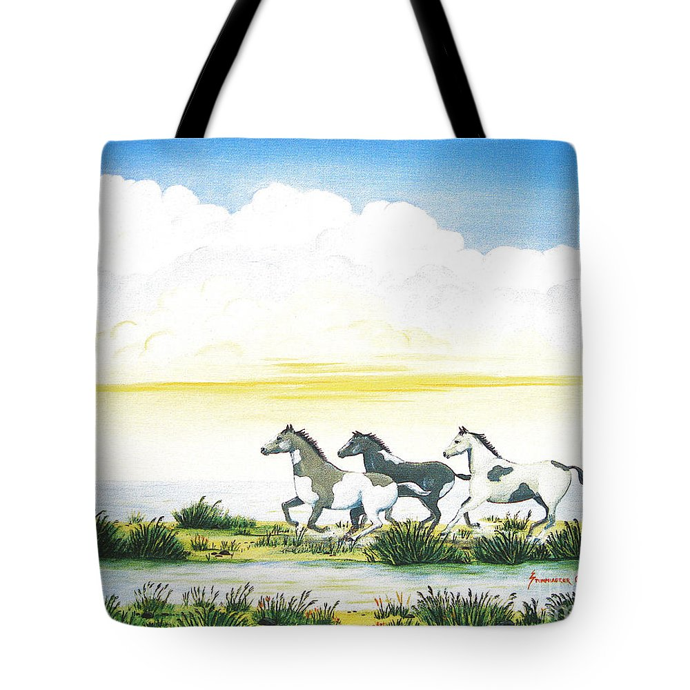 Chincoteague Tote Bag featuring the painting Indian Ponies by Jerome Stumphauzer