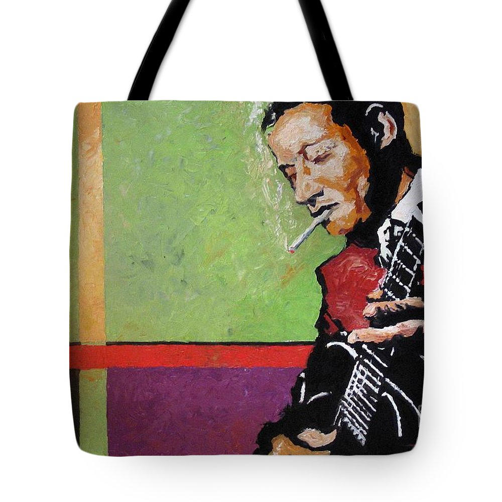 Jazz Tote Bag featuring the painting Jazz Guitarist by Yuriy Shevchuk