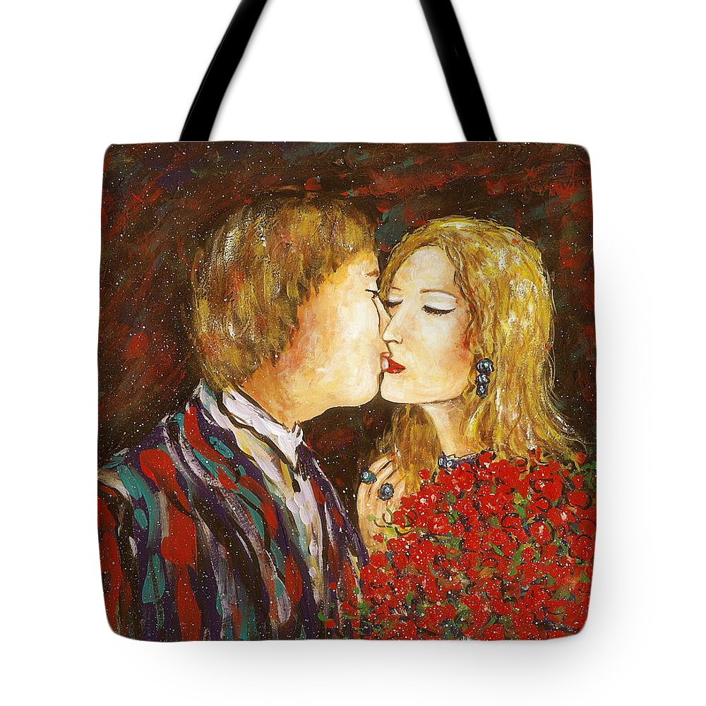 Passion Tote Bag featuring the painting Kiss by Natalie Holland