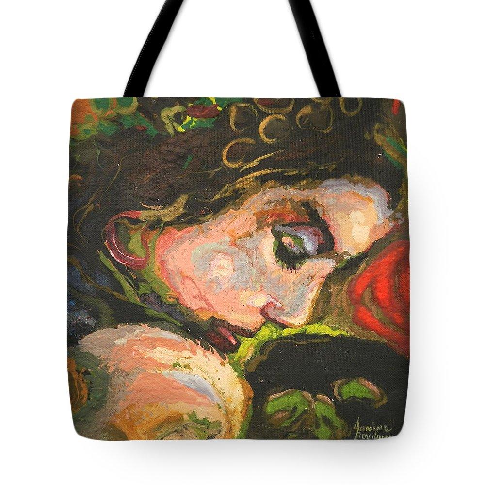 Titre: L'amoureuse Tote Bag featuring the painting L'amoureuse by Janine Boudreau