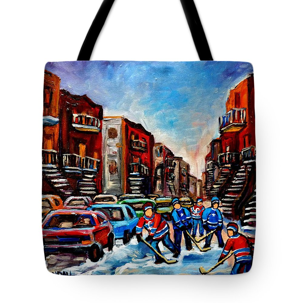 Montreal Tote Bag featuring the painting Late Afternoon Street Hockey by Carole Spandau