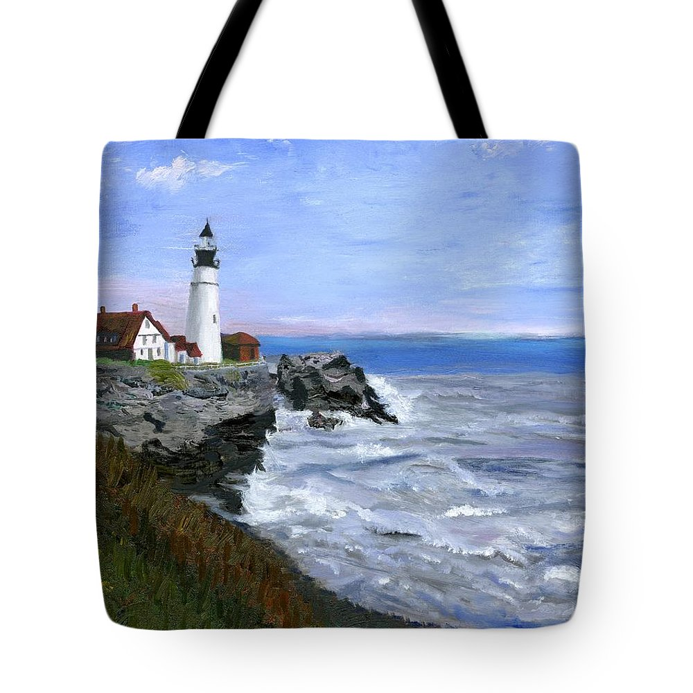 Ocean Tote Bag featuring the painting Lighthouse South Portland Me by Gloria Condon