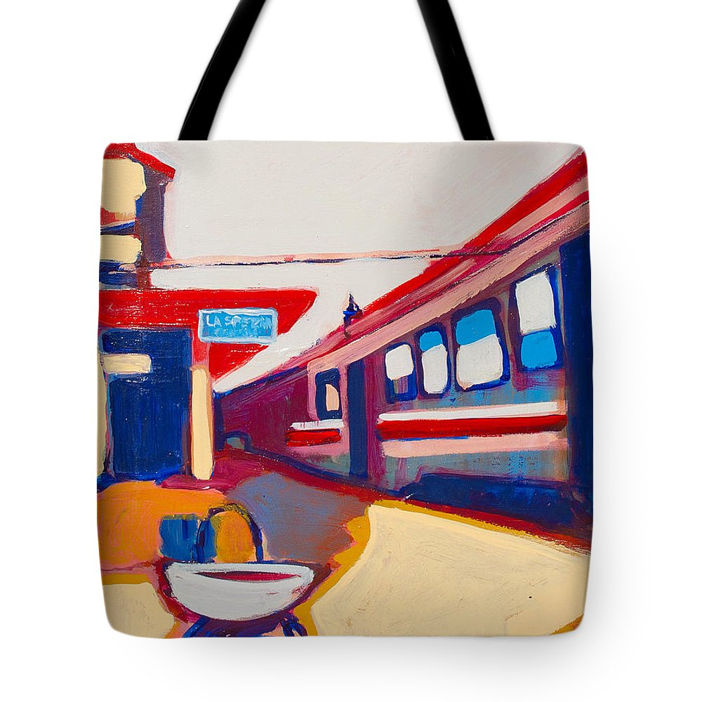 Train Station Tote Bag featuring the painting Locale by Kurt Hausmann