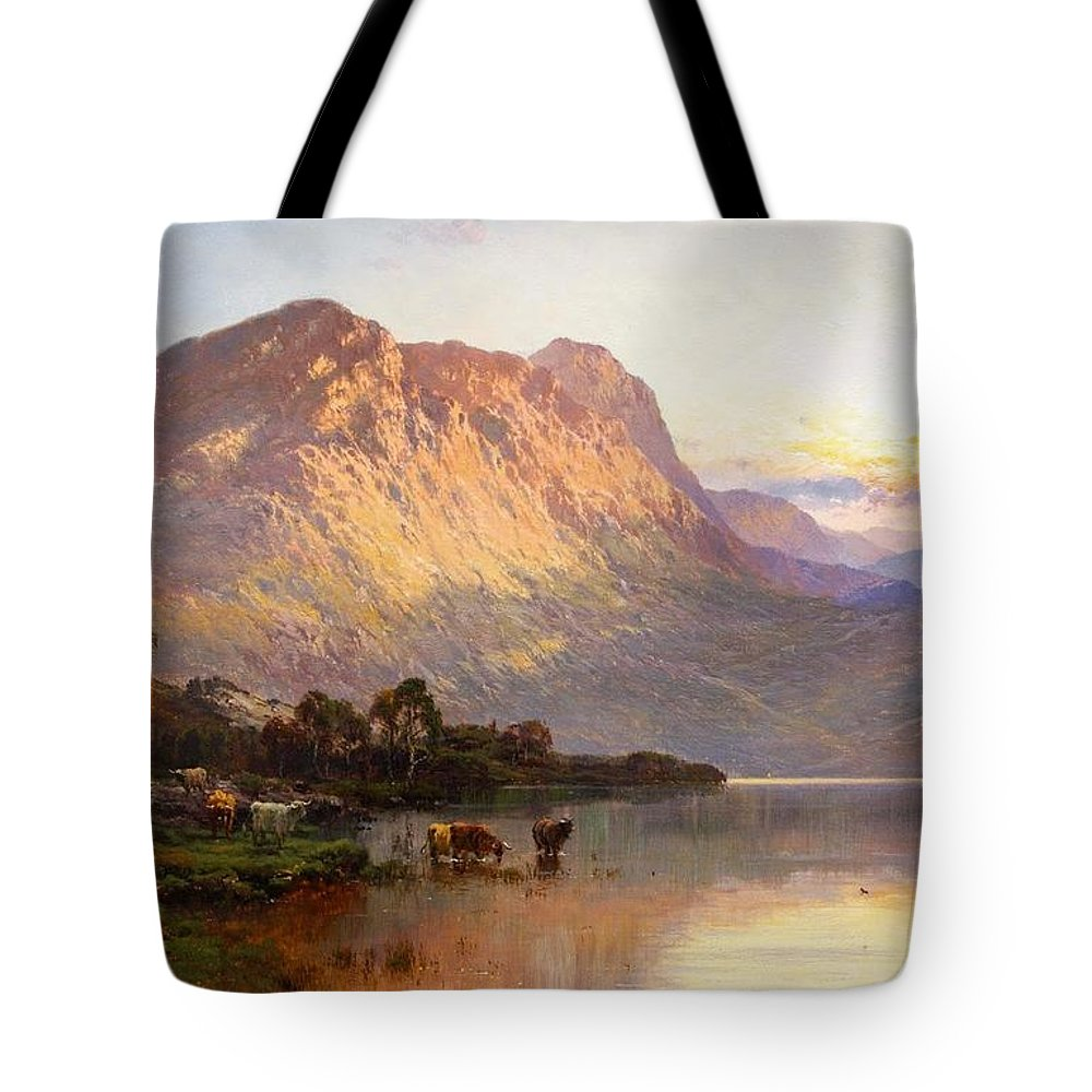 Alfred De Breanski Tote Bag featuring the painting Loch Lomond And A Trout Stream by MotionAge Designs