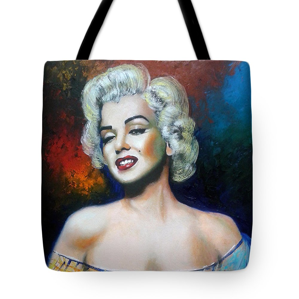 Women Star Tote Bag featuring the painting M. Monroe by Jose Manuel Abraham
