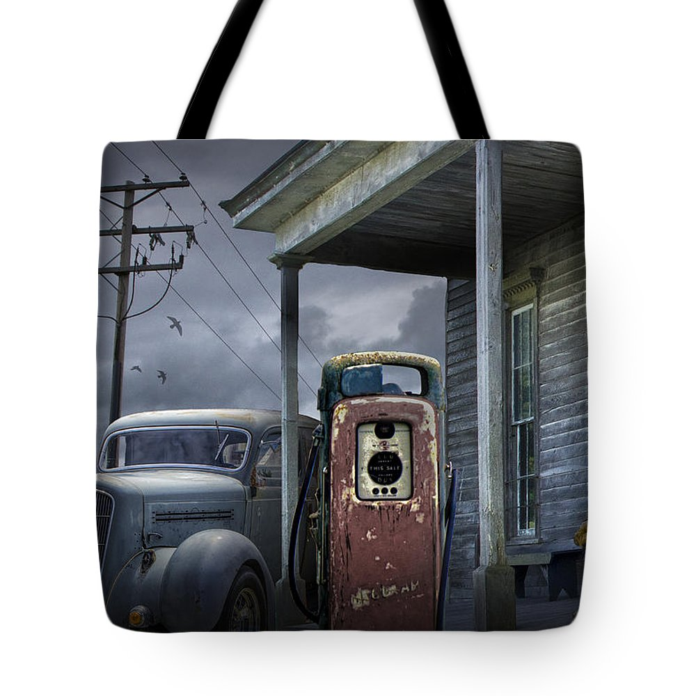 Man Lost In Thought By The Vintage Gas Station Tote Bag