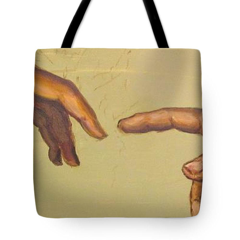 A Detail From Michelangelos Creation Of Adam Tote Bag featuring the painting Michelangelos Creation Of Adam 1510 by Eric Dee