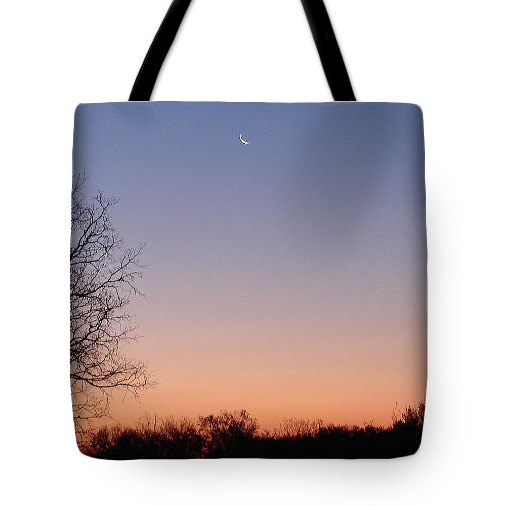 Moon Sky Orange Blue Tote Bag featuring the photograph Morning Moon by Luciana Seymour