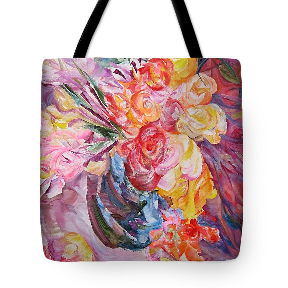 Abstract Tote Bag featuring the painting My Bouquet by Maya Bukhina