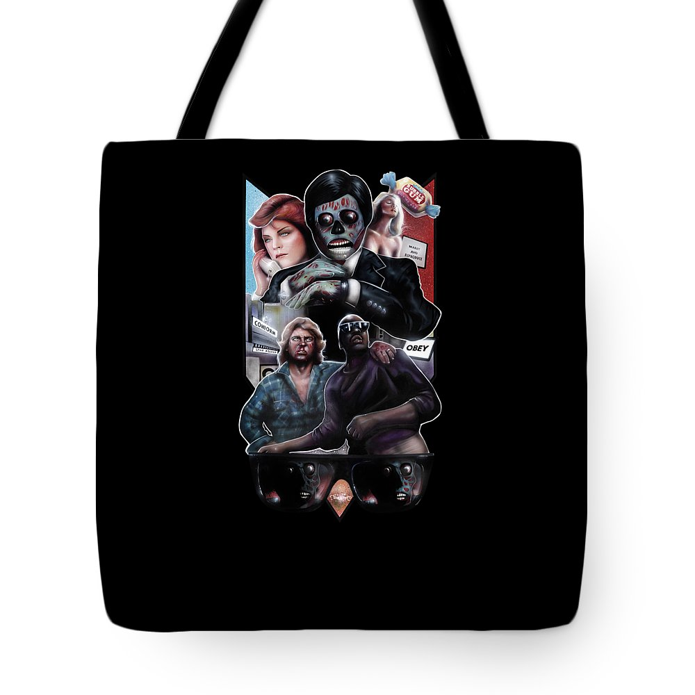 They Live Tote Bag featuring the painting Nada And Frank And The Truth Of Our Alien Overlords by Jason Wright
