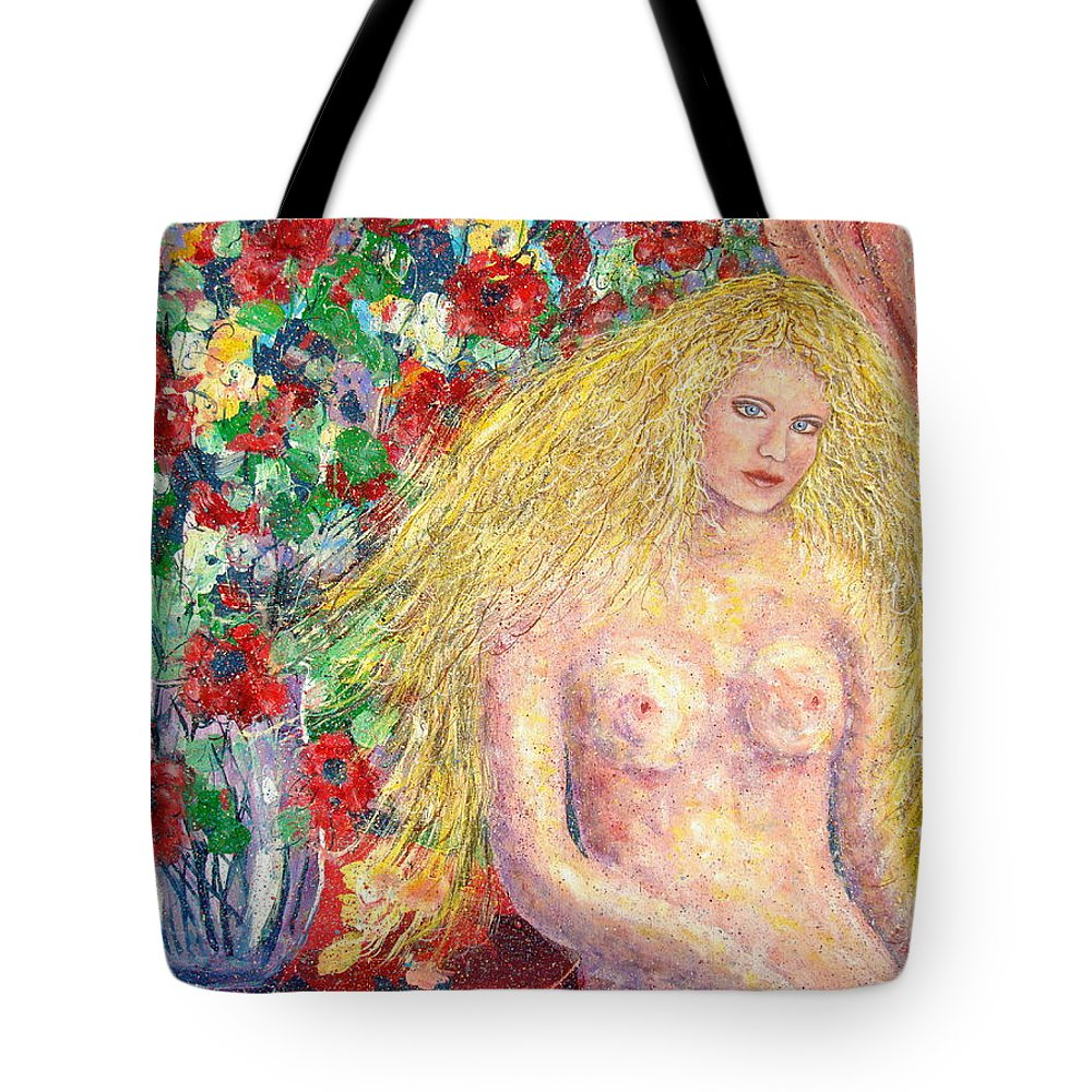 Nude Tote Bag featuring the painting Nude Fantasy by Natalie Holland