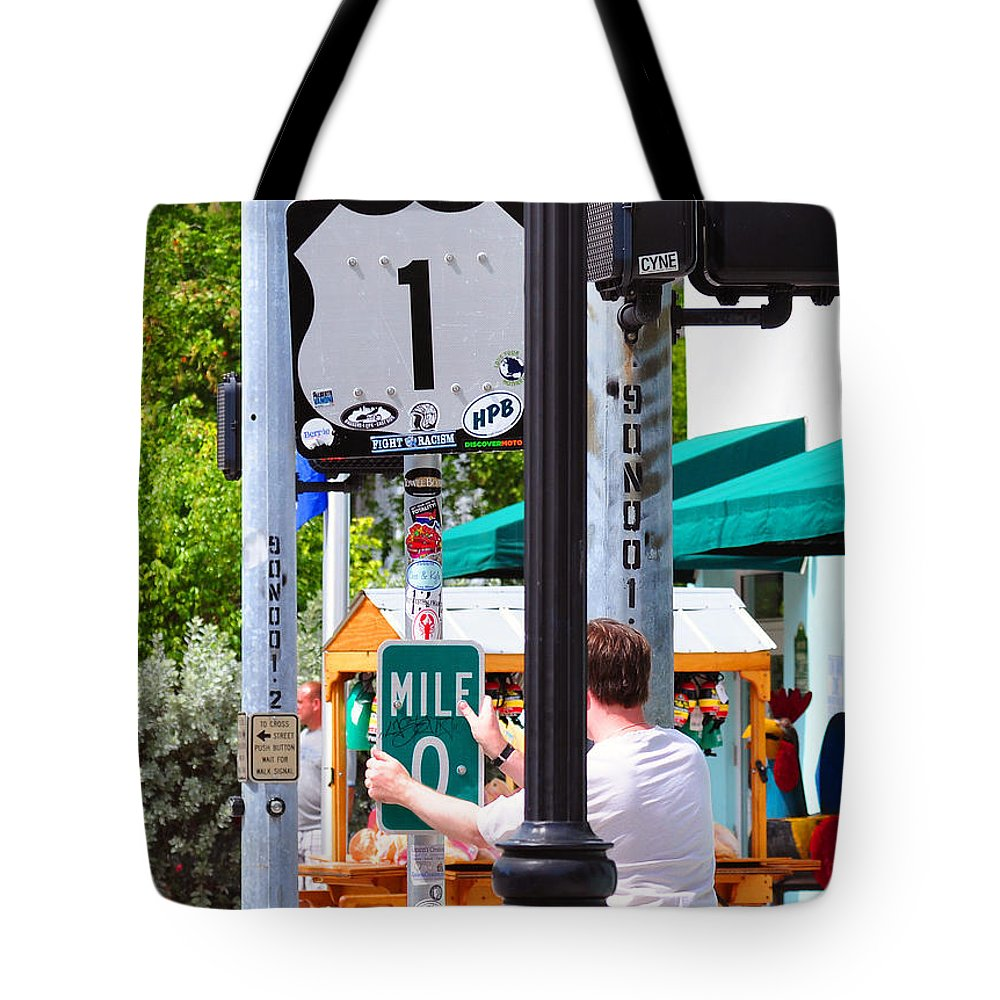 Key West Florida Tote Bag featuring the photograph # One Stolen Sign Key West by Davids Digits