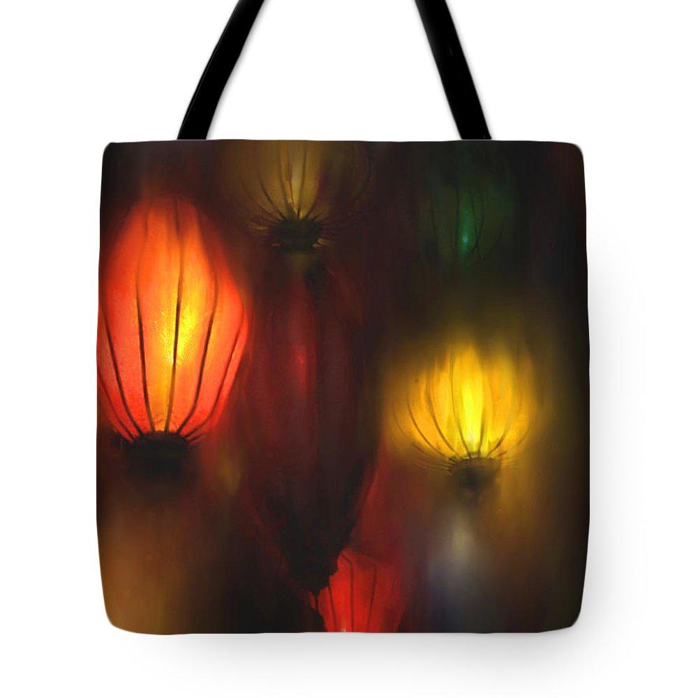 Lanterns Tote Bag featuring the painting Orange Lantern by Stephen Lucas