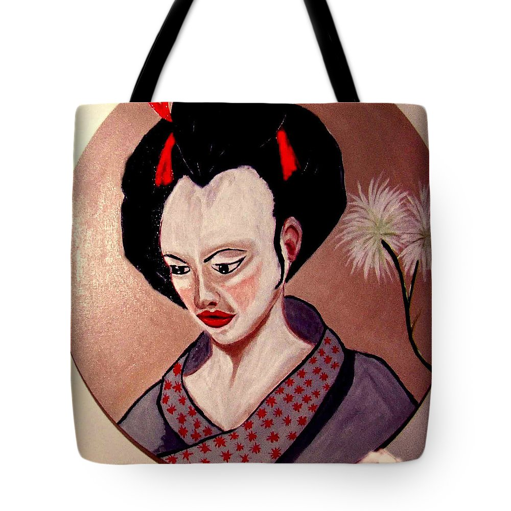 Japan Tote Bag featuring the painting Pensive Moment by Rusty Gladdish