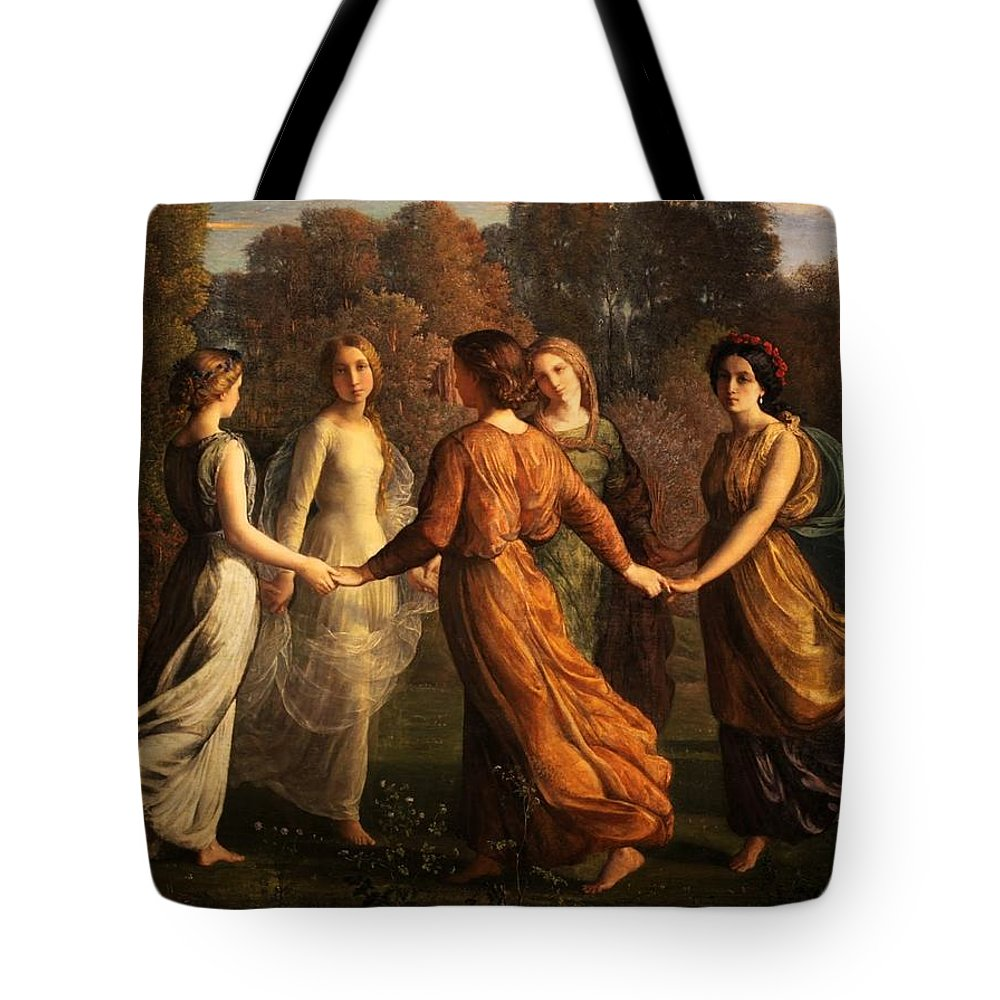 Louis Janmot - Poem Of The Soul 13 - Rays Of The Sun Tote Bag featuring the painting Poem Of The Soul by MotionAge Designs