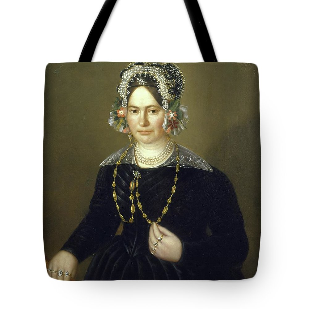 Unknown Artist Tote Bag featuring the painting Portrait Of The Wife Of Israel by MotionAge Designs