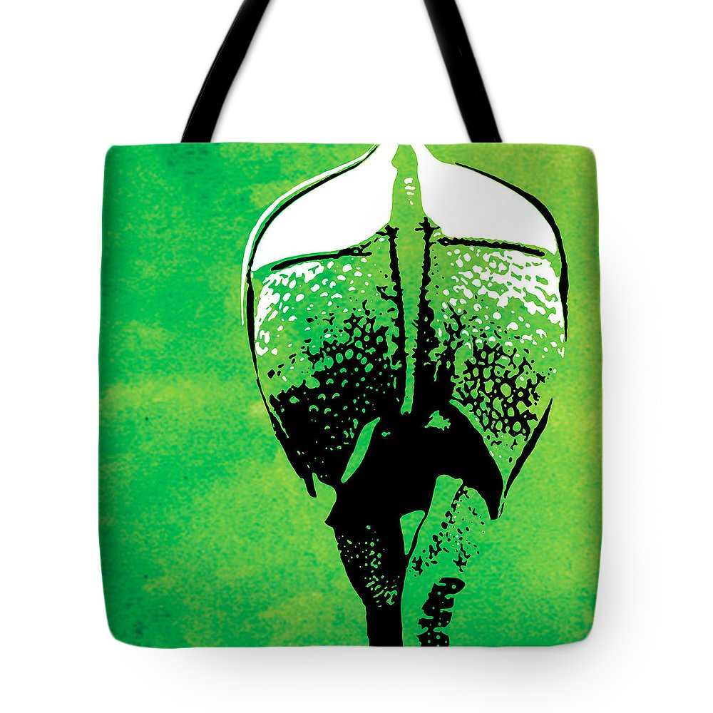 Rhino Tote Bag featuring the painting Rhino Animal Decorative Green Poster 6 - By Diana Van by Diana Van