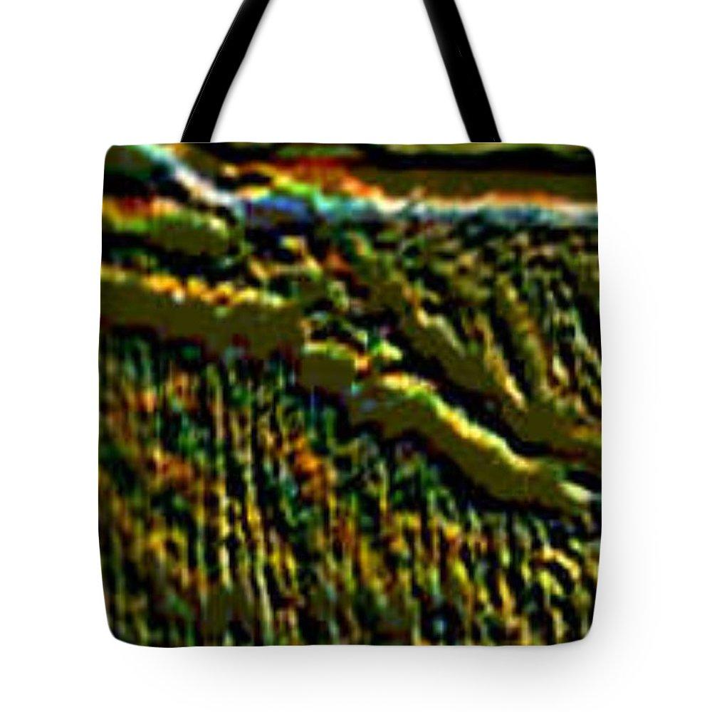 Canyons Tote Bag featuring the digital art South Rim- N -green Grandeur by Brenda L Spencer