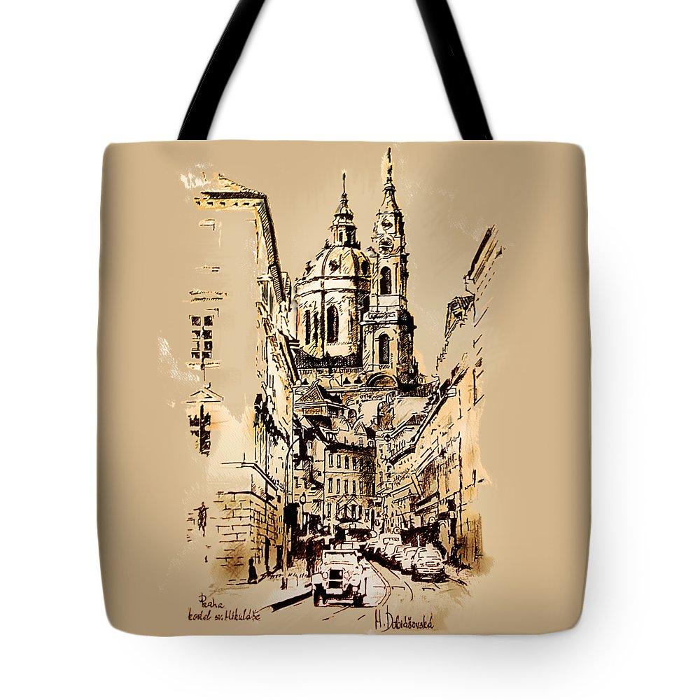 Prague Tote Bag featuring the mixed media St. Nicholas Church In Prague by Melanie D