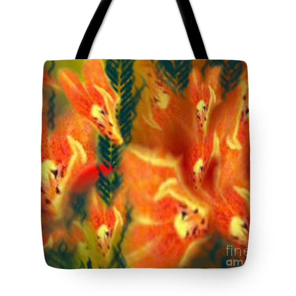 Florals Tote Bag featuring the digital art Symphonic Dance by Brenda L Spencer