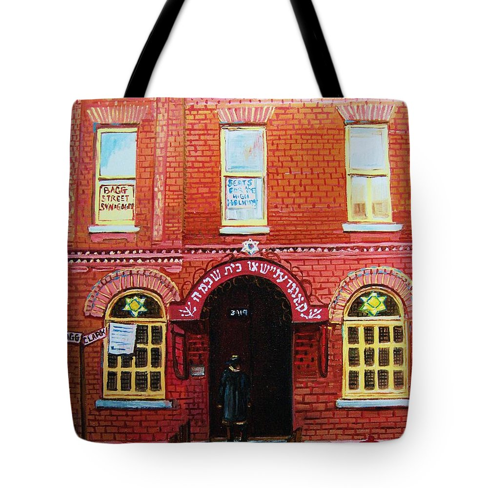 Synagogues Tote Bag featuring the painting Temple Solomon Congregation by Carole Spandau