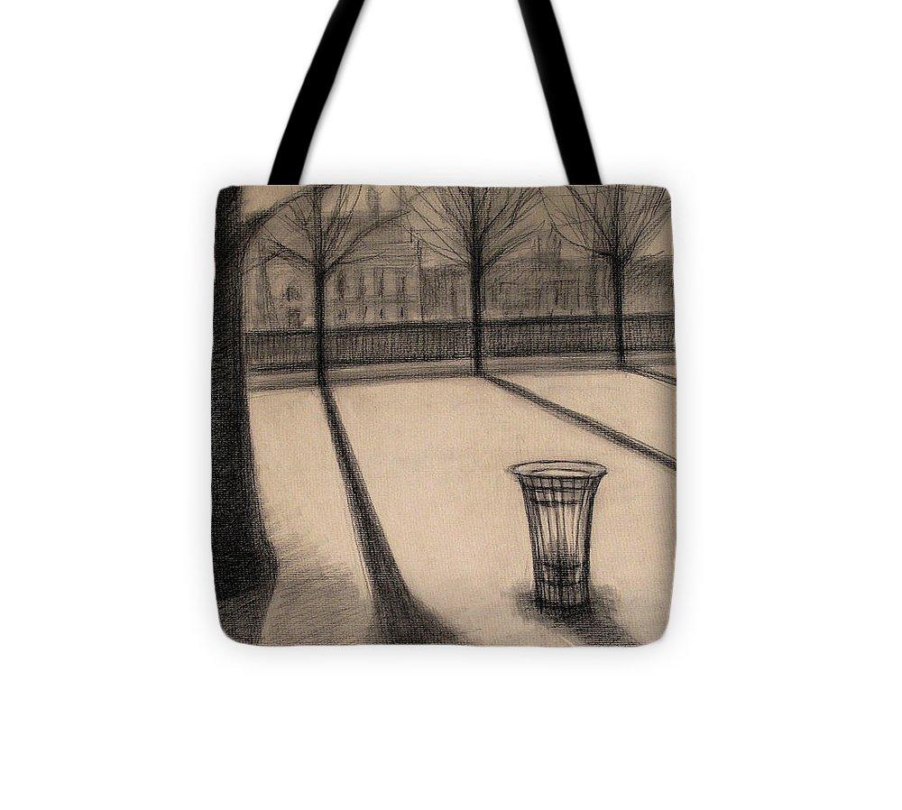 Paris Tote Bag featuring the drawing The Evening In Tuileries Paris by Raimonda Jatkeviciute-Kasparaviciene