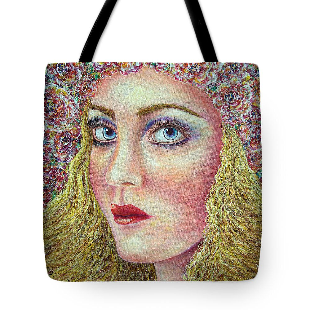 Woman Tote Bag featuring the painting  The Flower Girl by Natalie Holland