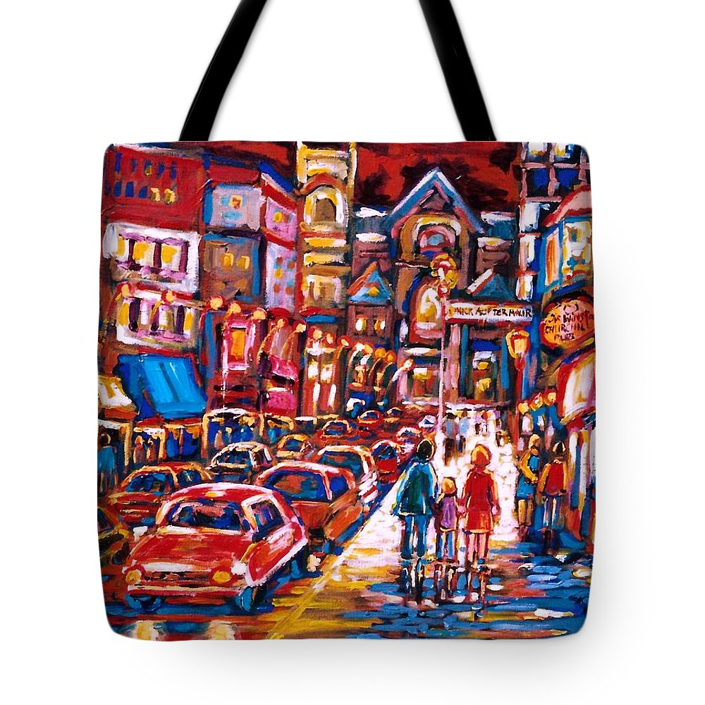 City Scenes Tote Bag featuring the painting The Night Life On Crescent Street by Carole Spandau