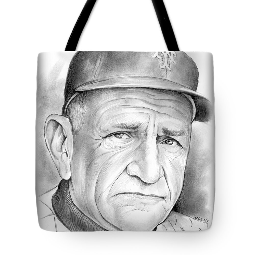 Baseball Tote Bag featuring the drawing  The Old Perfessor by Greg Joens