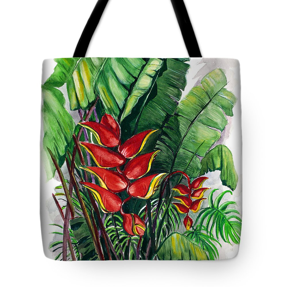 Heliconia Painting Rainforest Painting Musa Painting Botanical Painting Flower Painting Floral Painting Greeting Card Painting Tropical Painting Caribbean Painting Island Painting Red Painting Tote Bag featuring the painting Tiger Claw .. Heliconia by Karin Dawn Kelshall- Best