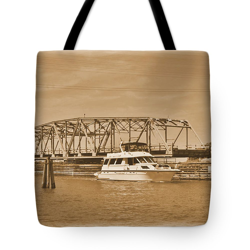 Sepia Tote Bag featuring the photograph Vintage Swing Bridge In Sepia 2 by Bob Sample