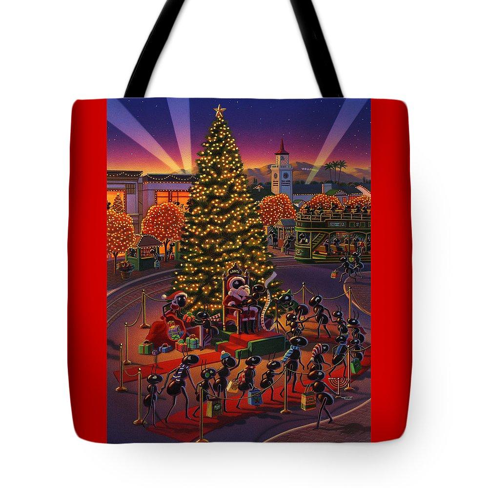 Ants Tote Bag featuring the painting Visiting Santa Anta by Robin Moline