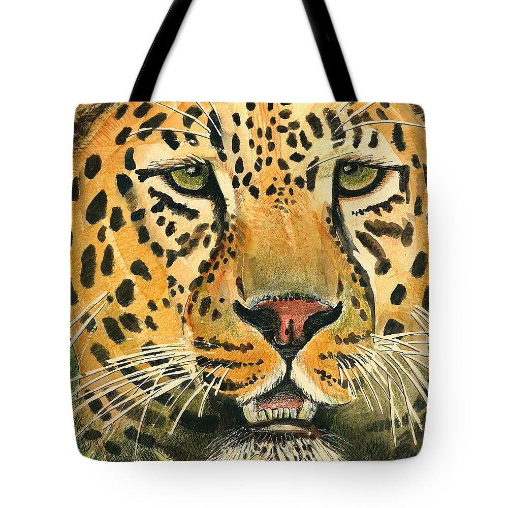 Leopard Tote Bag featuring the painting Waiting For Prey by Arline Wagner