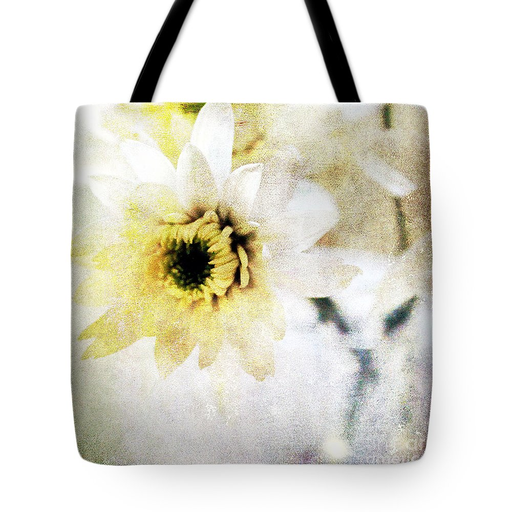 Flower Tote Bag featuring the mixed media White Flower by Linda Woods