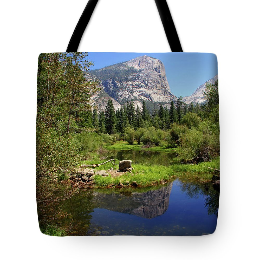 Yosemite Tote Bag featuring the photograph @ Yosemite by Jim McCullaugh