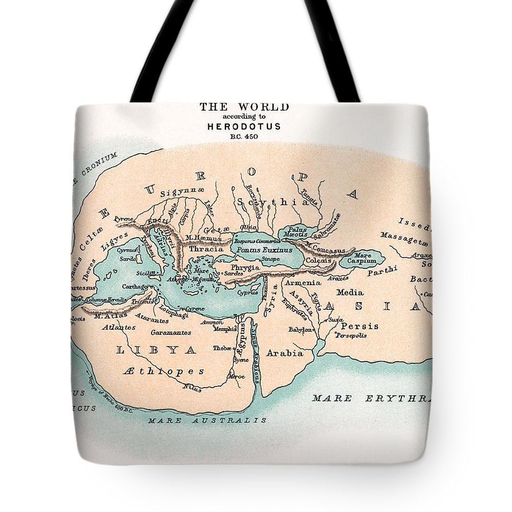 450 B.c. Tote Bag featuring the painting World Map by Granger