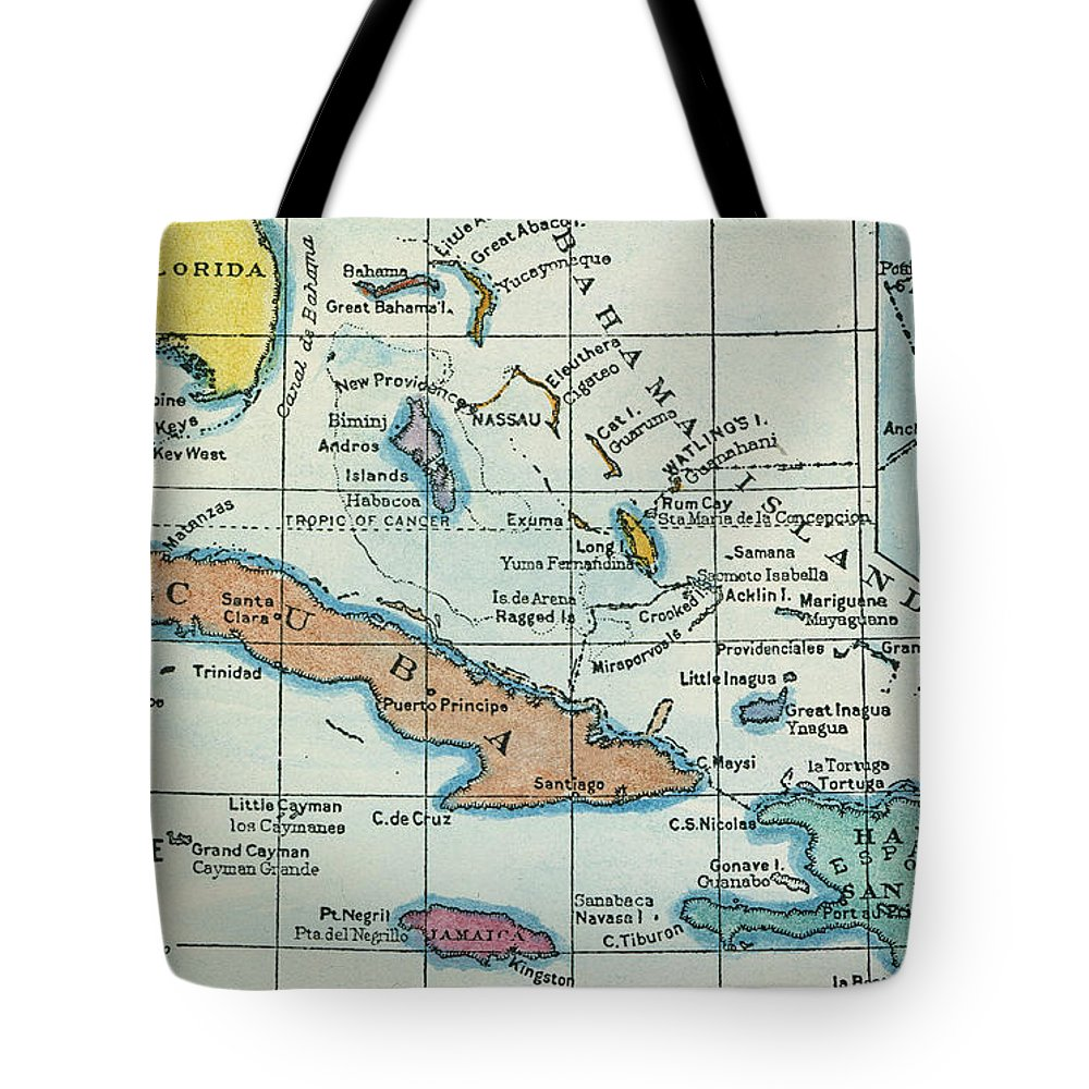 1492 Tote Bag featuring the painting Columbus: West Indies Map by Granger