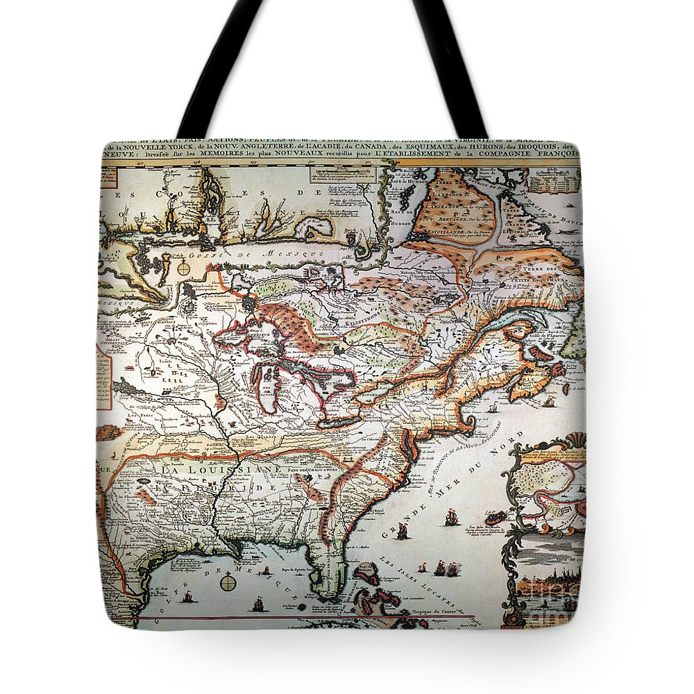 1719 Tote Bag featuring the painting New France, 1719 by Granger
