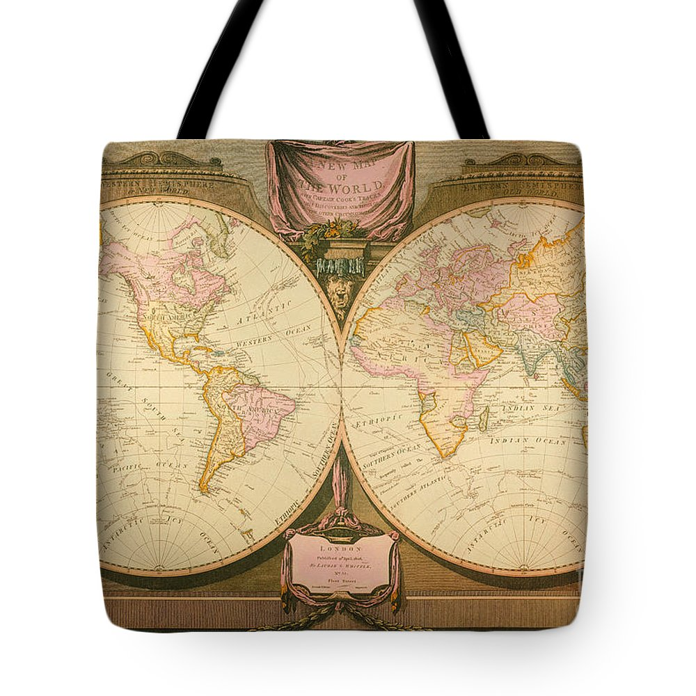 1770s Tote Bag featuring the painting Captain Cook: Map, 1808 by Granger