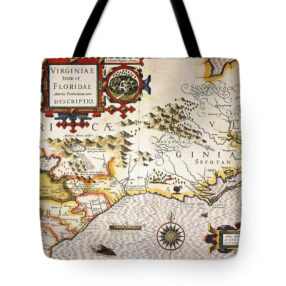 1606 Tote Bag featuring the painting Map: Colonial America, by Granger
