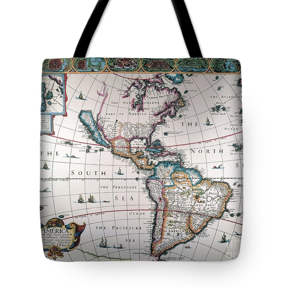 1616 Tote Bag featuring the painting New World Map, 1616 by Granger