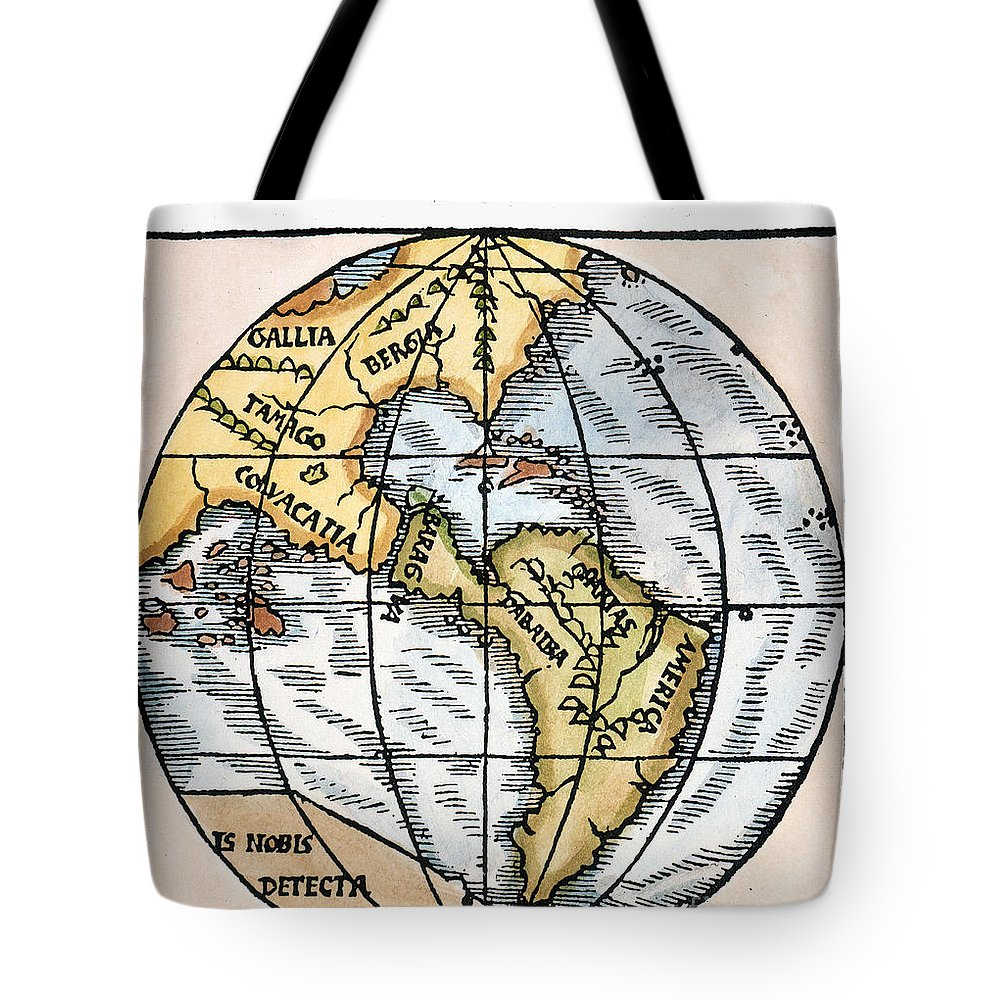 1529 Tote Bag featuring the painting World Map, 1529 by Granger