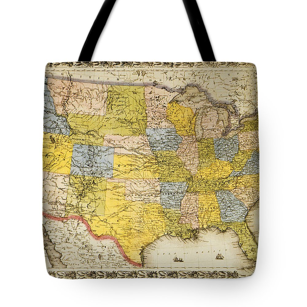 1866 Tote Bag featuring the painting United States Map, 1866 by Granger