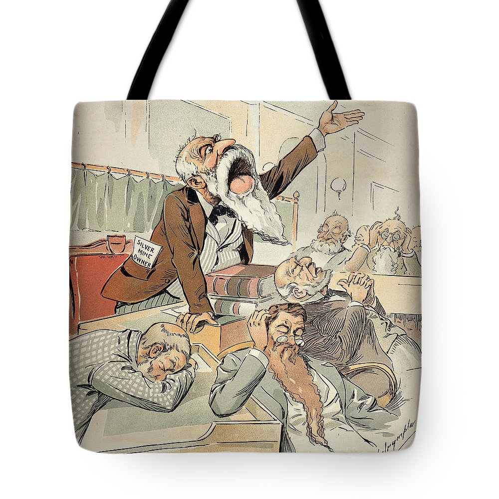 1893 Tote Bag featuring the painting Senate Cartoon,free Silver by Granger
