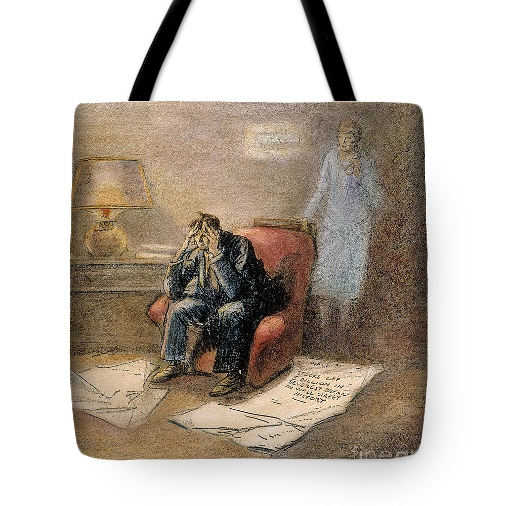 1929 Tote Bag featuring the painting Stock Market Cartoon by Granger