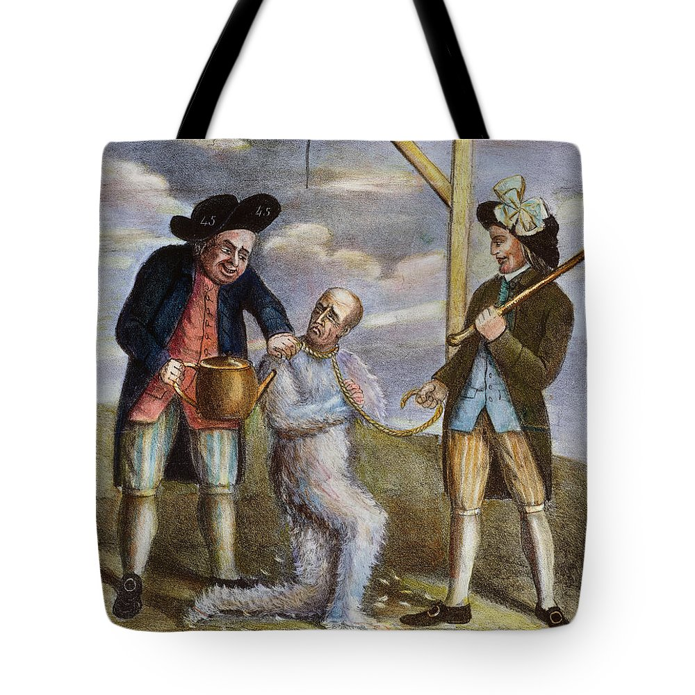 1774 Tote Bag featuring the painting Tarring & Feathering, 1774 by Granger