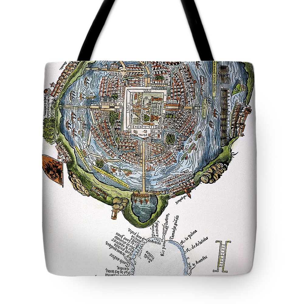 1524 Tote Bag featuring the painting Tenochtitlan (mexico City) by Granger