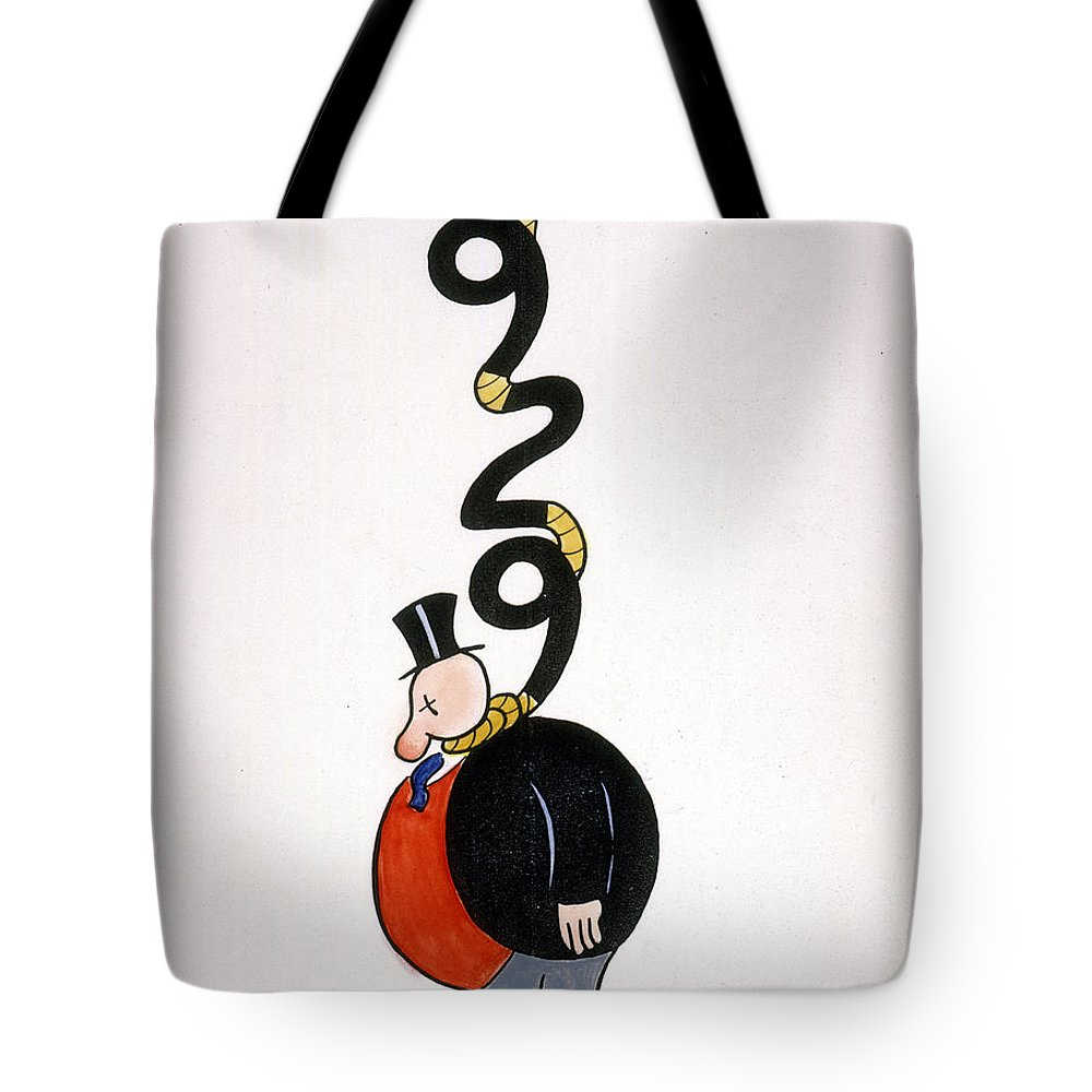 1929 Tote Bag featuring the painting Depression Cartoon by Granger